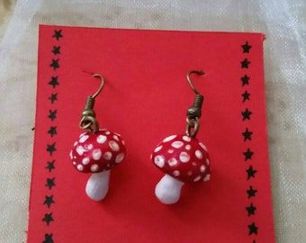 Red and White Toadstool Earrings|Cute and Quirky|Girlie Gift Ideas