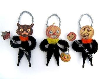 Halloween Chenille Ornaments - Primitive Halloween Decor