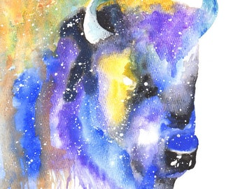 Bison Spirit Totem Animal ORIGINAL Galaxy Watercolor 9X12