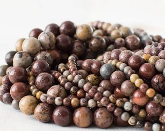 "High Quality Grade A Natural Artistic Jasper (red) Semi-precious Gemstone Round Beads - 4mm, 6mm, 8mm, 10mm sizes - 16"" strand"
