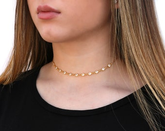 Cubic Zirconia Choker Necklace, CZ Choker Necklace,  Sterling Silver and 14KT Gold Filled, Dainty CZ Choker