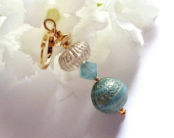 Gold plated lever-Oriental, Swarovski Crystal and engraved acrylic high quality gold / celadon blue / clear
