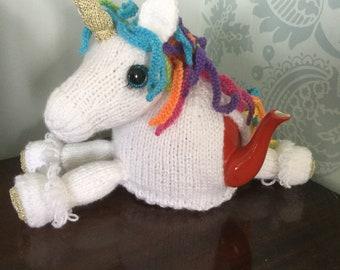 Magical unicorn knitted tea cosy