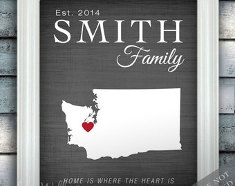 Family Name Home Print - Personalized Housewarming Gift - Custom Name State Country Print any Color - Perfect for New Homeowner
