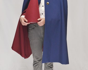 Red-lined Navy Blue Cape and Gnome Hat Combo