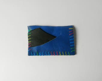 Blue Wallet with Rainbow Stitching