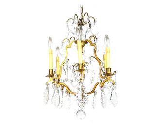 Free Shipping USA & Canada - Vintage French Crystal Chandelier Bronze Hanging Light Pendant Fixture Ceiling Ornate Brass Antique France