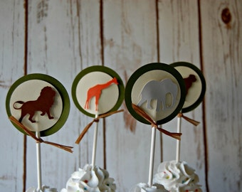 Zoo Silhouette Toppers (12pc)