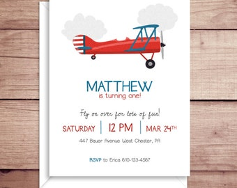Plane Invitations - Plane Party Invitations - Plane Birthday Party Invitations - Boy Birthday Party Invitations - Vintage Plane Invitations