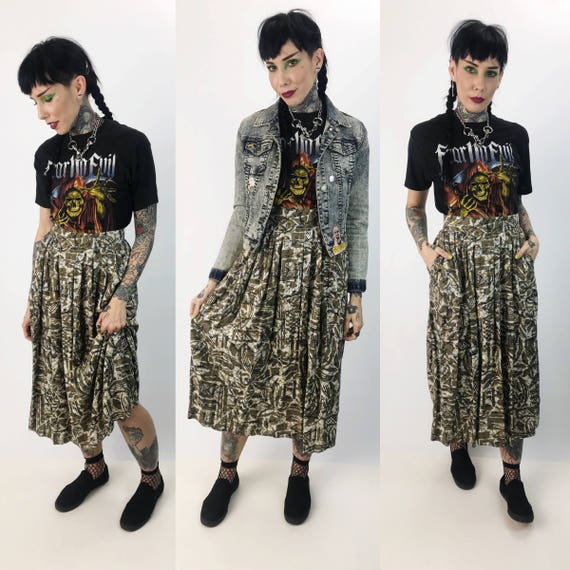 "80's Allover Pattern High Waist Midi Skirt Small 27"" Waist - Long Casual Spring Rayon Skirt With Pockets - Tan Brown Black Casual Long Skirt"