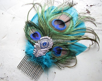 Crystal hair comb | silver fascinator | something blue | wedding headpiece | statement
