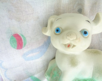 Vintage 70s Reliance Products Corp Rubber Puppy Squeak toy and small vintage puppy art handkerchiefs