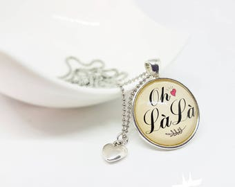 Necklace with slogan, French, oh la la, Frensch chain, banner, text chain, France
