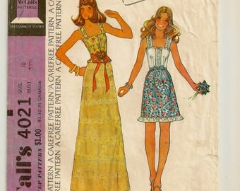 """A Pullover Camisole-Style Top & Slightly Flared A-Line Skirt in 2 Lengths Sewing Pattern for Women: Size 10, Bust 32-1/2"""" • McCall's 4021"""