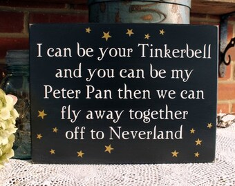 Tinker Bell and Peter Pan Valentine Sign Wedding Love Shabby Fairy Tale Romance Bridal Shower Gift