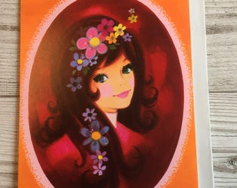 Vintage Mother's Day Card, Flower Power, Groovy Girl, Orange, 1970's, Unused