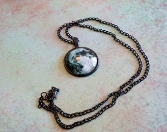 Full Moon Necklace, full Moon Pendant, Full Moon Jewelry, Solar system necklace, space necklace, science jewelry, space jewelry, astronomy