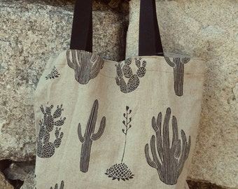 Cactus printed Linen tote bag / Natural linen soft fabric used / Long sturdy straps