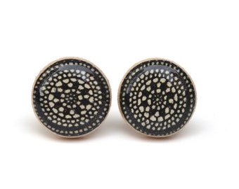 Jet Black Stud Earrings. Black Stud Earrings. gift for women. Geometric Black Earrings. Black Post Earrings. Wood Earrings. Starlight Woods
