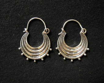 Silver plated - dangle Hoop Earrings