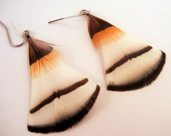 Natural Feather Earrings A Touch of butterscotch organic