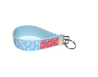 Nautical Patchwork Wristlet Key Ring Anchors and Fish
