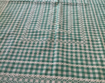 1950s green gingham cross stitch tablecloth