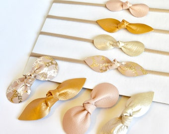 Birthday Suit Collection: Set Of Four Genuine Leather Headbands Or Hair Clips-Flesh Pink, Bronze, Pearl, and Gold