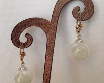 Boucles d'oreilles bulle de verre et mini billes