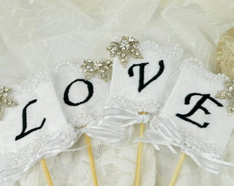 LOVE Banner, Embroidered Cake Topper Skewers