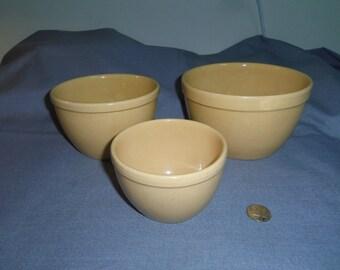 """Yellow Ware Pottery Nesting Bowls, Small Unmarked 4"""" tall, 4.25"""", 5.5"""" and 6.5"""" top dia. Kitchen Utensils, Kitchen Decor"""