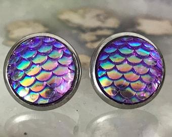 Purple Mermaid Earrings |  12mm Mermaid Studs | Stainless Steel  | Dragon Scale | Fish Scale Studs | Mermaid Scale Earrings | Dragon Earring