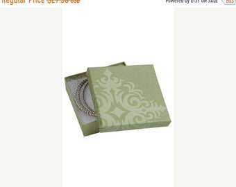 TAX SEASON Stock up 50 Pack of 3.5X3.5X1 Inch Size High Quality Sage Damask Cotton Filled Jewelry Presentation Boxes