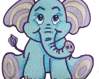 Cute Lil' Baby Elephant - Iron on Embroidered Patch Applique HS P - BS - 5