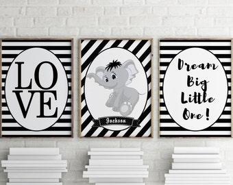 Nursery Prints, triple pack decor print, nursery decor, monochrome, black and white, nursery wall art, elephant prints