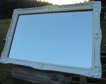 Shabby chic mirror, white mirror, vintage mirror, mirror, frame,French decor,ornate mirror,