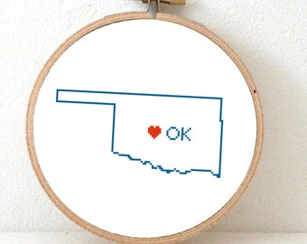 OKLAHOMA map modern cross stitch pattern. Wedding gift. Oklahoma wedding. Oklahoma with Oklahoma city.
