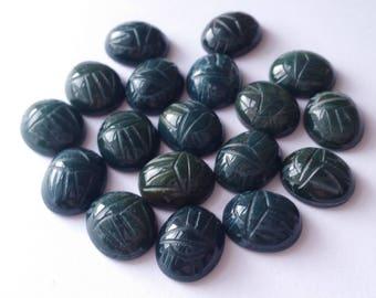 4 Genuine Bloodstone Scarab Cabochon Cab Stones 12x10