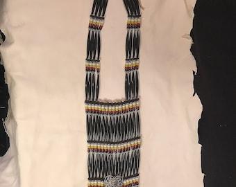 Black Yellow Beaded/Bone Women Breastplate - Lakota Sioux - Belle Star Boy