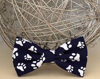 Dog Bow / Bow Tie - Dark Navy w White paw prints