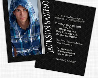 Masculine Photo Graduation Announcement or Party Invitation - Printable
