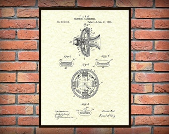 Patent 1898 Telephone for Transmitter - Art Print or Poster - Wall Art - Communication Device Art - Phone Wall Art - Phone company wall art