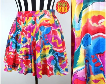 90s Vintage Red, Pink, Blue, Yellow Abstract Mini Tennis Skirt by Lilly's