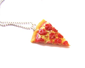 The Pizza is Eternal Necklace, Pepperoni Pizza Jewelry, Miniature Food Jewelry