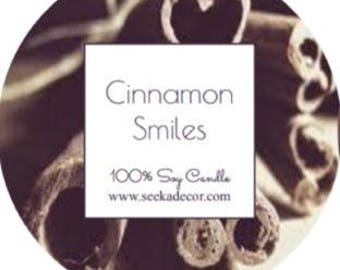 Cinnamon Smiles, Scented 100% Soy Candle, Choose Your Size, Hand Poured White Wax made By Seeka Decor