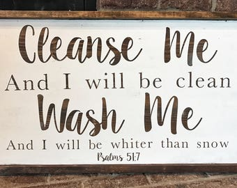 Farmhouse Cleanse Me Bible Verse Sign // Psalms 51:7 // bathroom decor // laundry room decor //