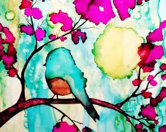 Whimsical Bird on a Branch Art Print, Alcohol Ink, Whimsical Art, Bird Art, Bird Print, Blue, Pink, Wall Art, Home Decor, Bird, Art, 12x12
