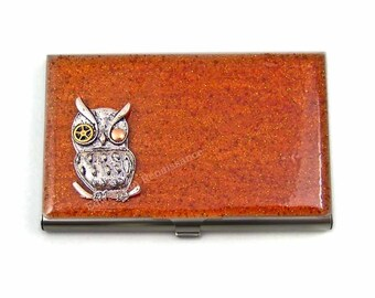 Sci fi Owl Business Card Case Inlaid in Hand Painted Copper Enamel Mechanical Owl Metal Wallet Steampunk Gear and Cog Personalized Options