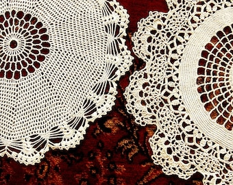 Doily HAND CROCHETED Lace Dresser Runner Bureau Scarf Cotton Tablecloth Ecru Dense Pair