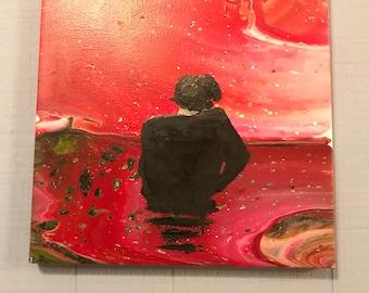 Harry Styles, Acrylic pour painting, oil, fluid acrylic, abstract